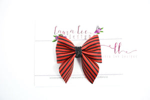 Marlee Bow Style || Red & Black Stripes Vegan Leather