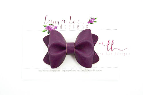 Sasha Style Bow || Smooth Eggplant Vegan Leather