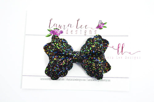 Scalloped Margo Style Bow || Black Fiesta Confetti Glitter