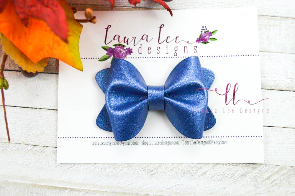 Sasha Style Bow || Blue Shimmer Vegan Leather