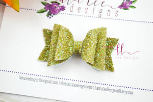 Stacked Mini Sabrina Style Bow || Green Olive Glitter