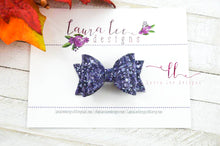 Stacked Mini Sabrina Style Bow || Midnight Frost Glitter