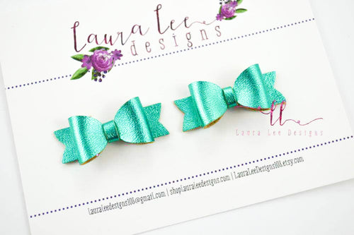 Pixie Style Pigtail Bow Set || Teal Metallic Smooth Vegan Leather|| Mini Bows