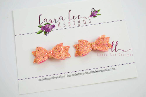 Pixie Style Pigtail Bow Set || Peach Fuzz Glitter Bows