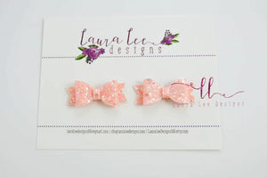 Pixie Style Pigtail Bow Set || Barely Pink Glitter Bows