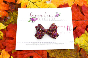 Mini Sasha Style Bow || Thanksgiving Day Feast Glitter