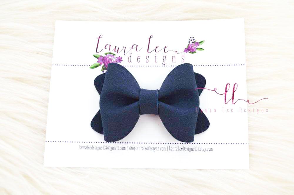 Sasha Style Bow || Midnight Blue Suede