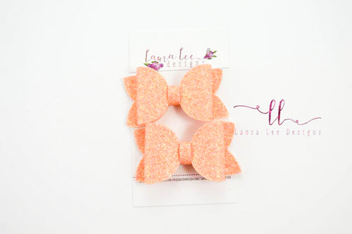 Pippy Style Pigtail Bow Set || Peach Glitter Felt