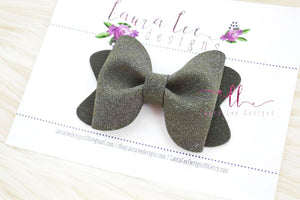Sasha Style Bow || Charcoal Gray Suede