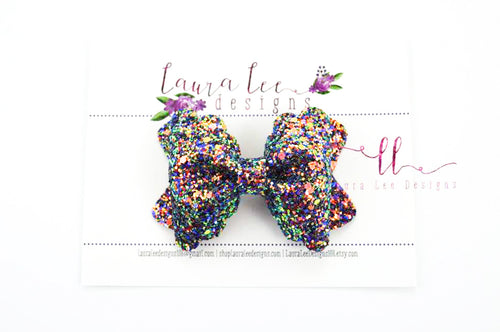 Scalloped Margo Style Bow || Blue Flame Glitter
