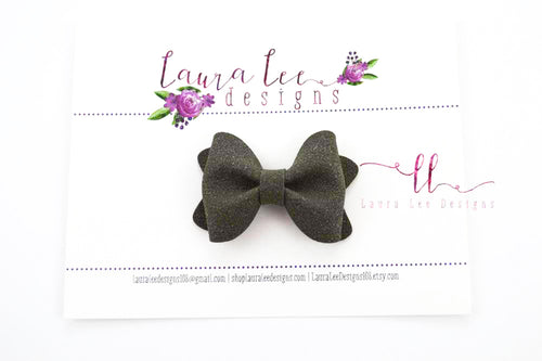 Mini Sasha Style Bow || Charcoal Gray Suede