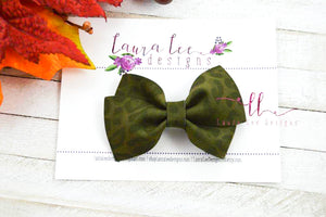 Nea Bow Style || Dark Olive Green Leopard Suede
