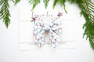 Marlee Bow Style || Santa Faces On Blue Vegan Leather