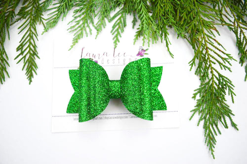 Stacked Rosie Style Bow || Christmas Green Glitter Felt