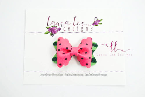 Mini Scalloped Margo Style Bow || Pink Watermelon Vegan Leather
