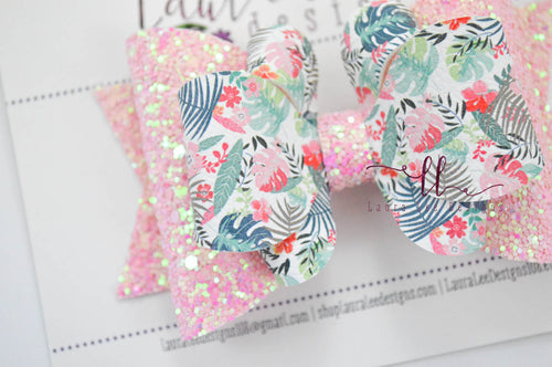 Large Amelia Bow Style || Tropical Leaves