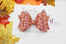 Large Stacked Sabrina Style Bow || Apple Cider Glitter