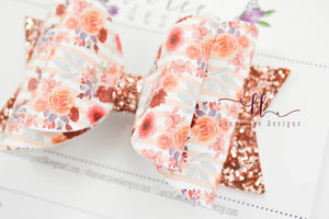Large Stacked Sabrina Style Bow || Aubrey Floral