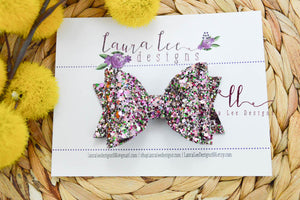 Medium Stacked Sabrina Style Bow || Berry Punch Glitter