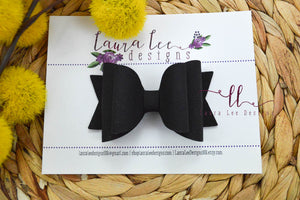 Medium Stacked Sabrina Style Bow || Black Suede Vegan Leather