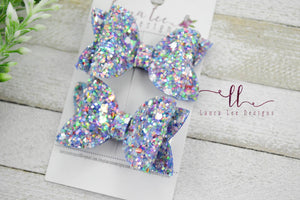 Pippy Style Pigtail Bow Set || Blueberry Prism Glitter