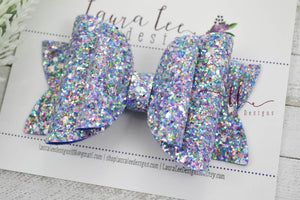 Stacked Rosie Style Bow || Blueberry Prism Glitter