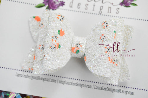 Izzy Stacked Style Bow || Bunnies and Carrots Glitter