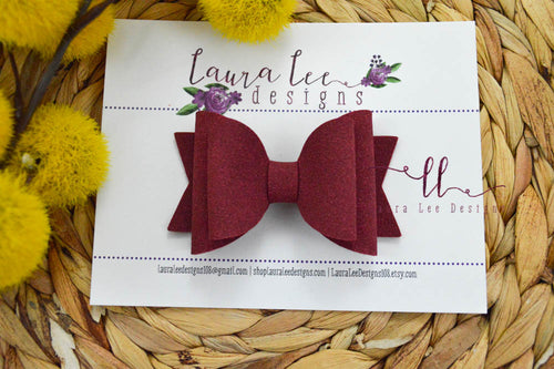 Medium Stacked Sabrina Style Bow || Burgundy Suede Vegan Leather