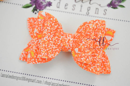 Stacked Winnie Bow Style || Candy Corn Surprise Glitter