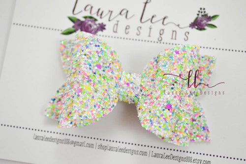 Izzy Stacked Style Bow || Candy Explosion Glitter