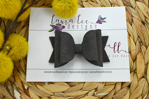 Medium Stacked Sabrina Style Bow || Charcoal Gray Suede Vegan Leather
