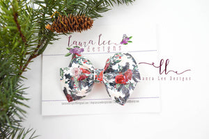 Nea Bow Style || Christmas Floral Vegan Leather