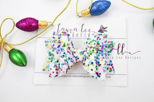 Stacked Rosie Style Bow || Christmas Lights Glitter