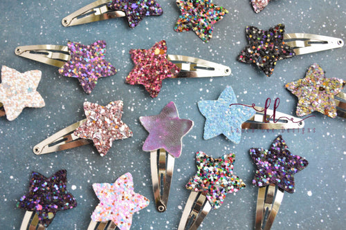 Stars Mini Snap Clip Grab Bag || Chunk Stars Mini Snap Clips || Glitter or Faux Leather || Randomly Chosen Snap Clip
