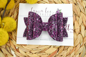Stacked Rosie Style Bow || Dark Purple Glitter