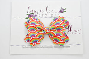 Scalloped Margo Style Bow || Endless Rainbow Vegan Leather