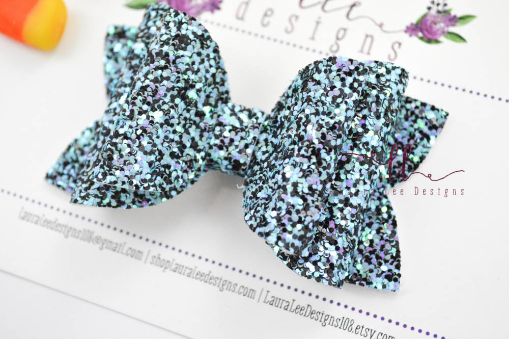 Izzy Stacked Style Bow || Evening Shadows Glitter