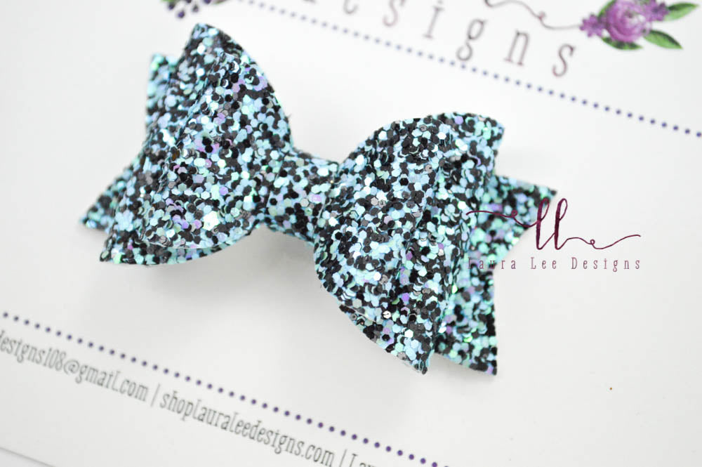 Stacked Mini Sabrina Style Bow || Evening Shadows Glitter