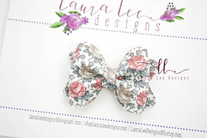 Mini Sasha Style Bow || Every Rose has it's Thorn Floral Vegan Leather