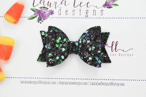 Mini Sabrina Style Bow || Evil Night Glitter