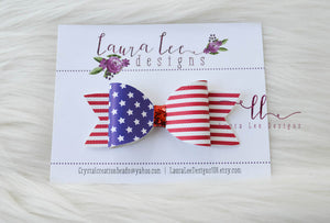Classic Remi Style Bow || American Flag Faux Leather Bow || Choose Nylon Headband or Clip