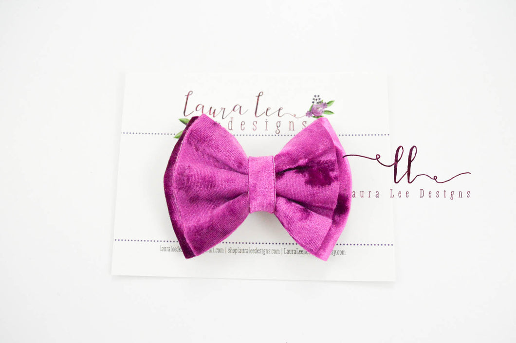 Millie Bow Style || Fuchsia Pink Crushed Velvet