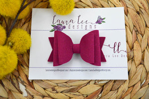 Medium Stacked Sabrina Style Bow || Fuchsia Suede Vegan Leather