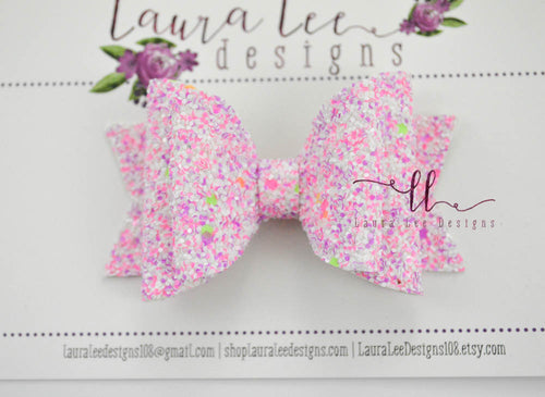Medium Stacked Sabrina Style Bow || Girl Power Glitter