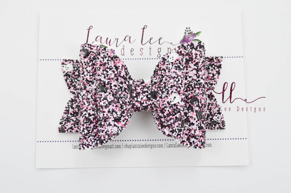 Stacked Rosie Style Bow || Girly Ghosts Glitter