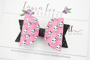 Medium Stacked Sabrina Style Bow || Girly Punk Rock Skulls