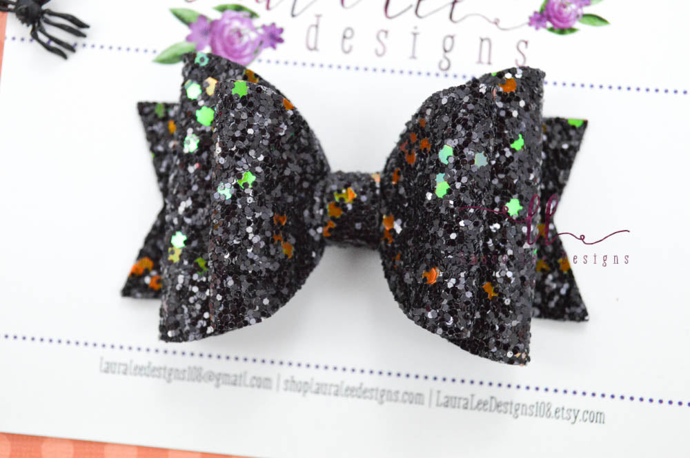 Medium Stacked Sabrina Style Bow || Haunted Trail Glitter