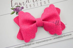 Margo Bow Style || Hot Pink Super Sparkle Glitter