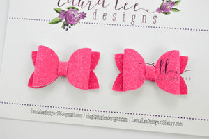 Pippy Style Pigtail Bow Set || Hot Pink Super Sparkle Glitter
