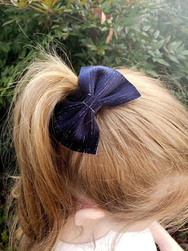 Bonnie Bow Style || Navy Blue with Metallic Stripes